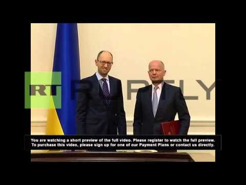 Ukraine: Yatsenyuk tells Hague key problem is foreign 'intervention'