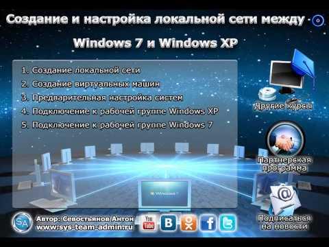 Настройка сети между Windows 7 и Windows XP.