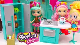 Shoppies Peppa Mint Fridge, Oven, Kitchen with Shopkins Season 4 Blind Bag Unboxing - Cookieswirlc