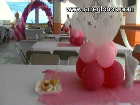 Decoraci n con globos para bautizo ni a youtube - Decoracion para bautizo de nina ...