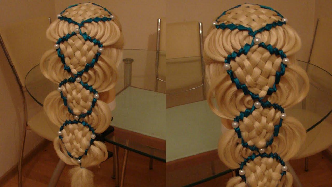 Прическа с плетением голливудская волна