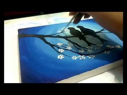 How To Paint Cherry Blossom Tree And Love Birds video