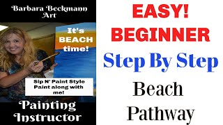 Easy Beginner Painting Sip and Paint style. Step by Step beach painting.