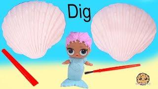 Sea Shell Dinosaur Dig with LOL Surprise Mermaid ! Cookie Swirl C