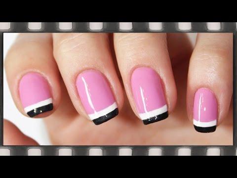 Как сделать маникюр на коротких ногтях двойным цветом