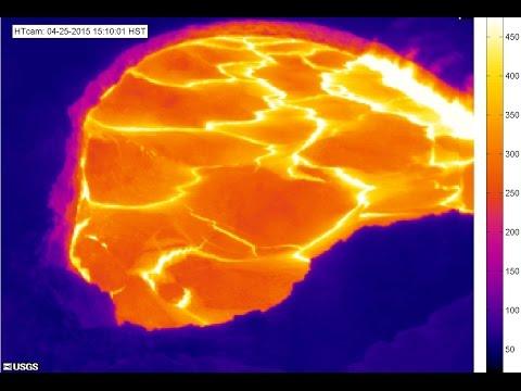 4 25 2015 Hawaiis Kilauea Volcano lava lake TOPPING OUT Caldera filling up