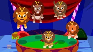 Five Big Lions Jumping On The Bed | Nursery Rhymes | Baby Songs For Kids