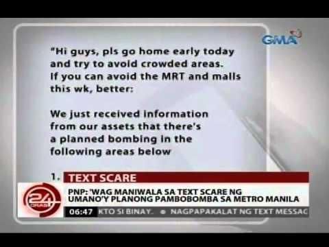 24 Oras: PNP: Huwag maniwala sa text scare ng umano'y planong pambobomba sa Metro Manila