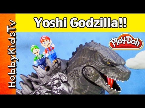 GIANT Godzilla Toy Eats Super Mario World! Smashes Play-Doh Gumbas by Jakks Pacific. HobbyKidsTV™