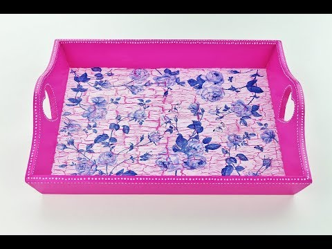 How to change old decoupage tray - Decoupage tray with crackles - Decoupage tutorial - DIY