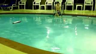Rc boat in pool