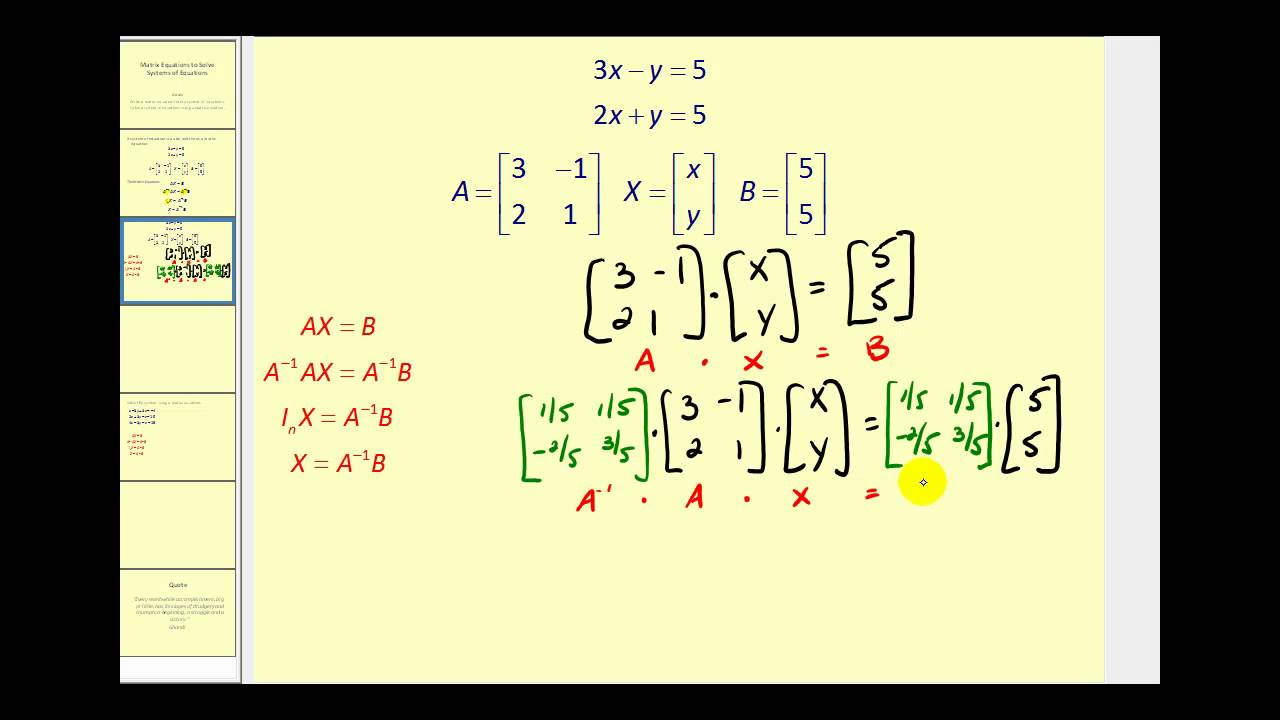 using a matrix equation to solve a system of equations youtube. Black Bedroom Furniture Sets. Home Design Ideas