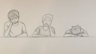 Drawing 3 Bored Students At School In Anime [TimeLapse]