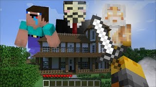 GIANT NOOB PRO HACKER AND GOD APPEAR IN OUR HOUSE IN MINECRAFT !! Minecraft Mods