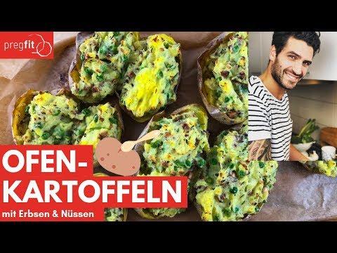 Ofenkartoffeln mit Erbsen & Nüssen | Folsäure + Protein = perfekt in der Schwangerschaft | pregfit