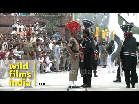 Cut Throat Competition At Wagah Border During Flag Down Ceremony video