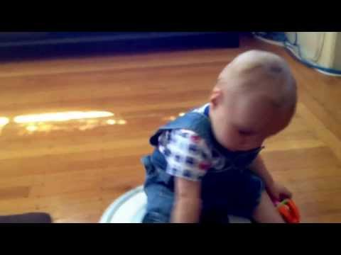 Mom's In The Shower. Dad, Baby, And Robot Having Some Fun. video