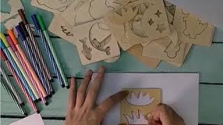 Bộ Khuôn hình cho bé tập vẽ gồm 50 chi tiết hoạt hình + Vở + 12 bút màu, bút chì, vở vẽ