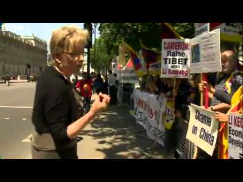 BBC News Protests near Downing St as Chinese Premier visits UK