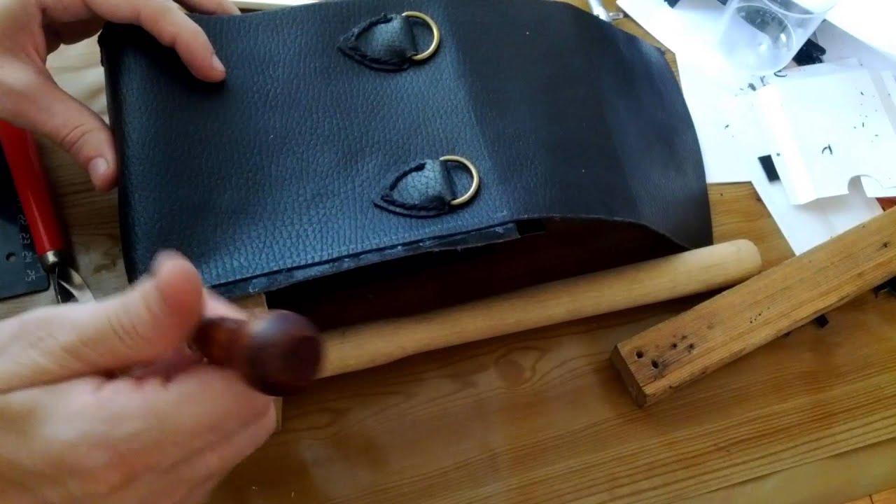 Самодельная сумка из кожи - часть 6. Сшивание 1. - YouTube