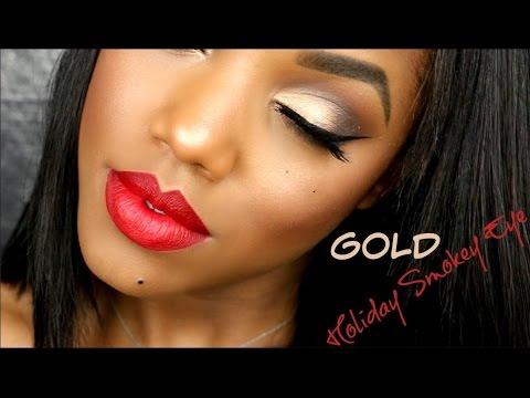 Gold Holiday Smokey Eye Tutorial | Ellarie