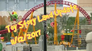 Toy Story Land Update 11/12/17 | Rex,Jessie and Slinky Dog rollercoaster