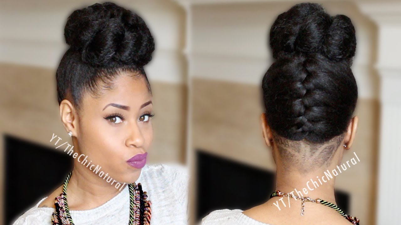 Braided Updo Styles For Natural Hair: Fab French Braided Bun Updo [On Natural Hair]