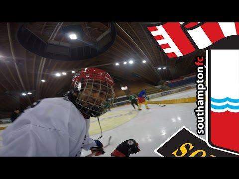 Saints stars try ice hockey during Switzerland trip