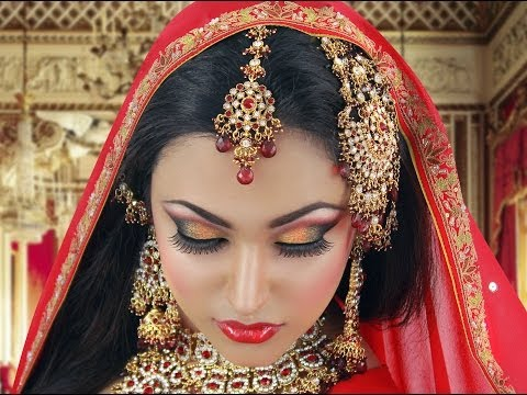 Red and Gold Traditional Bridal Tutorial Indian Arabic Asian Bridal Look for Wedding