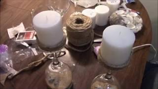Easy DIY Craft Ideas!! Beach Wine Glass CenterPiece Candle Holders!! Alpena Michigan 2018