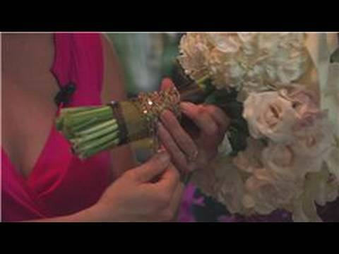 Wedding Floral Arrangements : How to Wrap Flower Arrangements With Ribbon