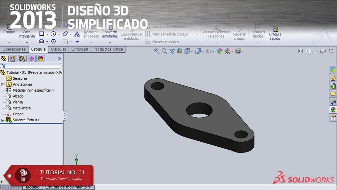 SolidWorks 2013 Tutorial - 01 Simetría y Redondeo de Entidades ...