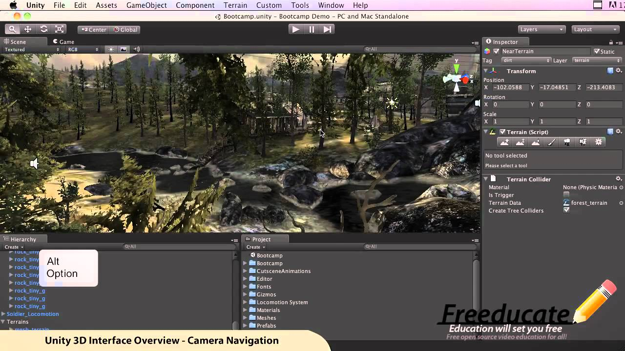 unity how to change position of camera