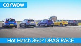 AMG A35 v  BMW M140i  v Golf R v Audi S3 v Focus RS - 360° DRAG RACE, ROLLING RACE & BRAKE TEST