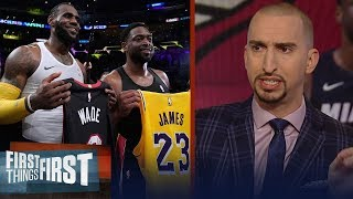 Nick Wright reacts to LeBron James & Dwyane Wade's last on-court meeting | NBA | FIRST THINGS FIRST