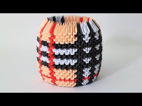 海外発!3D折り紙でペン立て、小物入れ、バスケットの作り方