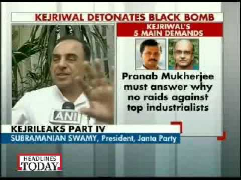 Dr Subramanian Swamy interview about Arvind Kejriwal Black Money press conference