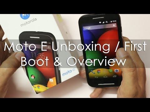 Moto E Unboxing / First Boot / SIM Install & Hands on Overview