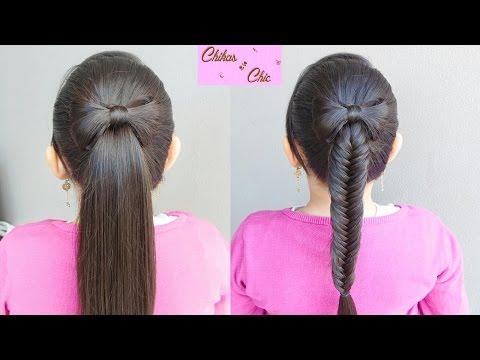 Cola o Trenza de Pescado/Espiga con Lazo de Cabello - Hair Bow into a fishtail |