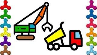 Máy Xúc, ô tô tải | Tô màu ô tô máy múc | How to draw Excavator and Truck step by step