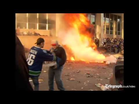 Ice Hockey fans riot in Vancouver as the Canucks lose Stanley Cup against Boston Bruins