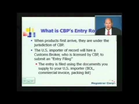 U.S. FDA EXPORT REGULATIONS - Part 2:  Import Procedure & Regulations Overview