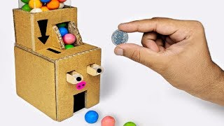 How to make Coin Operated Gumball Candy Dispenser Machine from Cardboard DIY at HOME