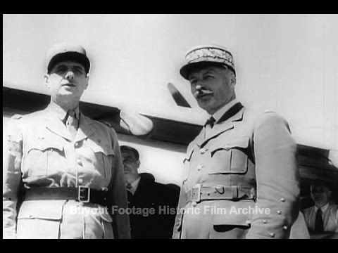 Historic Archival Stock Footage WWII - News From North Africa General de Gaulle