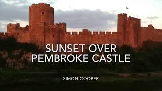 Sunset Over The Massive 13th Century Pembroke Castle, Pembrokeshire, Wales (DJI Spark drone)