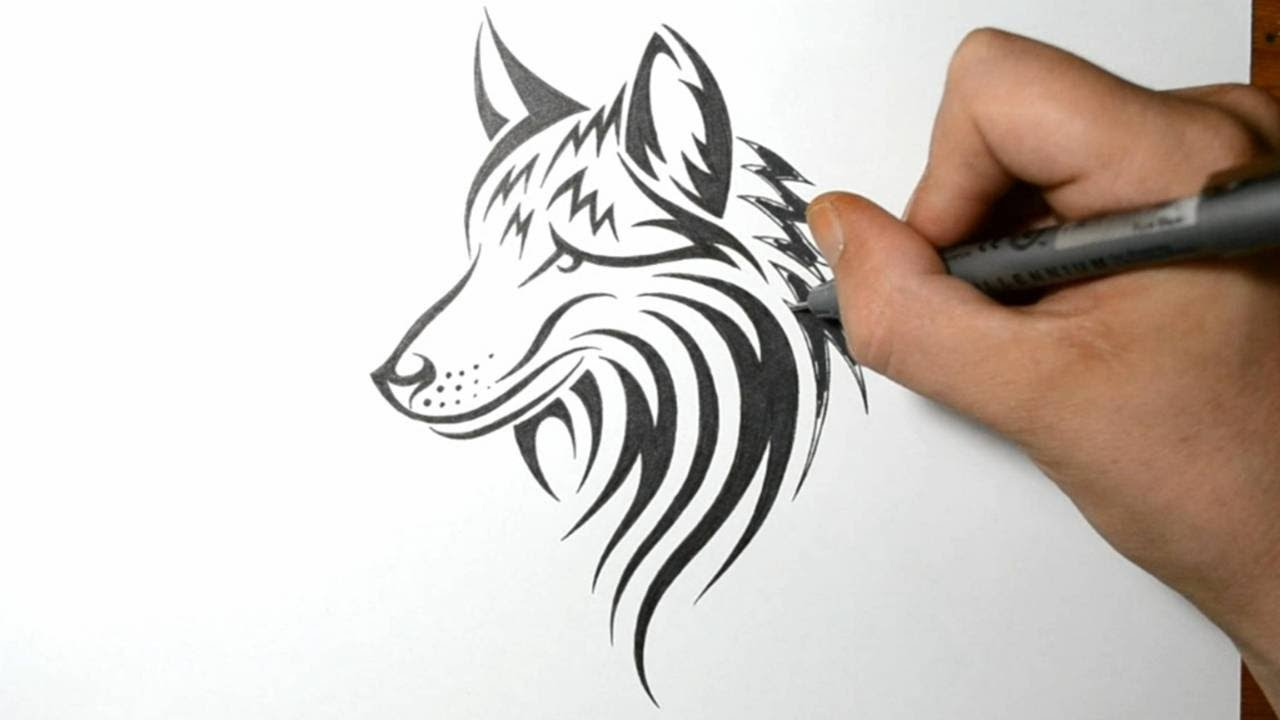Easy tribal wolf drawings