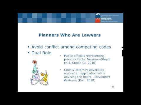 Ethical Rules and Considerations for Planners, Plan Commissioners, and Lawyers