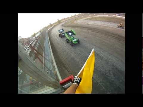 Patriot Sprints Dash 4 Cash at The Brockville Ontario Speedway. Flagman POV.