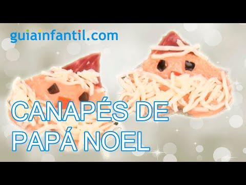 Receta de canapés de Navidad. Papá Noel con salsa rosa