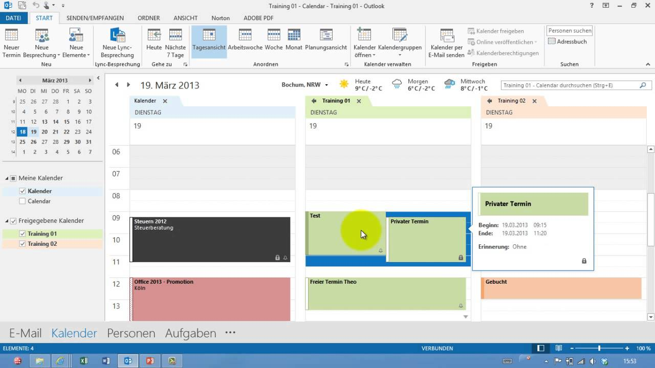 Outlook - Private Termine - Kalender - Teil 07 - YouTube